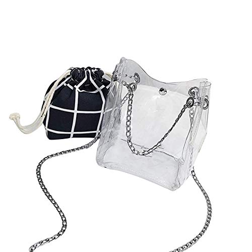 Bag Transparent Female Bag Lattice Bag Crossbody Clear VG Bucket black t5476nqwq