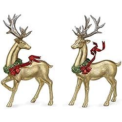 Napco Gold Reindeer Figure, Set of 2 Assorted
