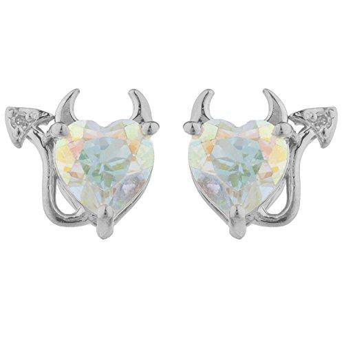 Natural Mercury Mist Mystic Topaz & Diamond Devil Heart Stud Earrings .925 Sterling Silver Rhodium Finish