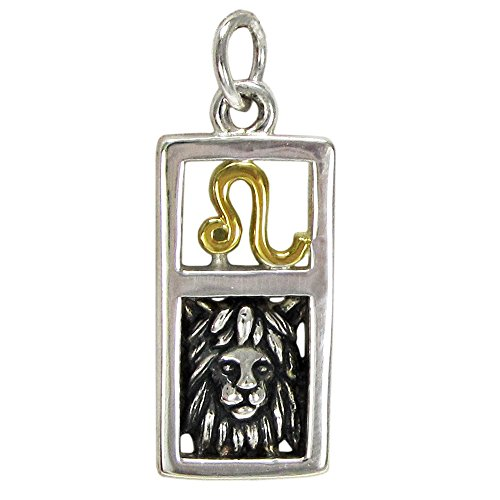 Sterling Silver Leo the Lion Zodiac Charm with 14 Carat Gold Plating