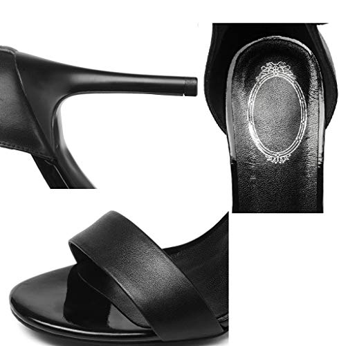 Small with Rear Open Heels Sandals Ring Fashion Heels Women's Size Shoes Toe High Shoes High Foot Handmade Black Lady Ultimate fine Zippe Peeps wqTRFP