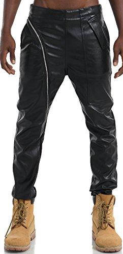 Pizoff Men's Hipster Urban Luxury PU Leather Slim Casual Elastic Hip Hop Punk Zip Pants Y1714-32