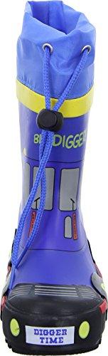 Sneakers Gummistiefel MS149731-BLU Kinderschuh Jungen Blau Kordelverschluss Bagger