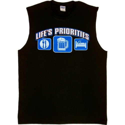 MENS SLEEVELESS T-SHIRT : BLACK - L - Lifes Priorities Eat Sleep (T-shirts Lifes Priorities Beer)