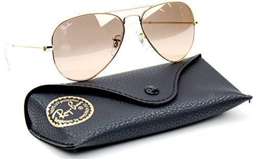 Ray-Ban RB3025 001/3E Gold Frame / Brown-Pink Silver Flash Lens - Ray Aviator Pink Gold And Ban