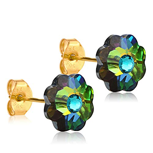 10mm Stud Earrings for Women & Girls| Swarovski Flower Crystals, 14K Gold Plated| Made With Hypoallergenic, Surgical Stainless Steel| Jewelry Gifts by Clecceli (Multicolored/Teal)