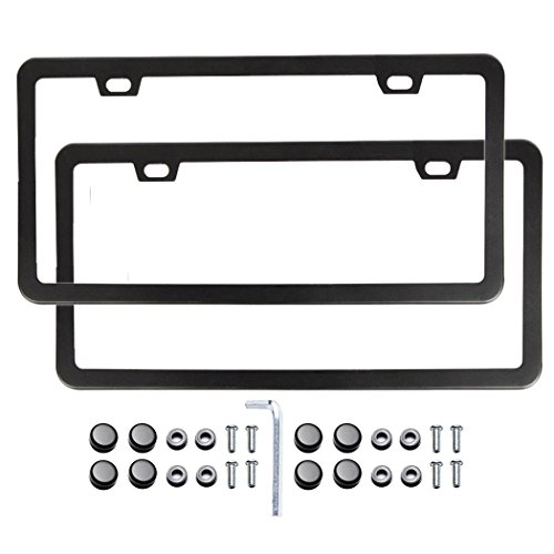 car-license-plate-frame-slim-bottom-matte-stainless-steel-license-plate-covers-with-screws-fasteners