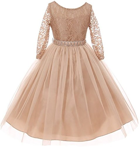 Big Girls' Dress Lace Top Rhinestones Tulle Holiday Christmas Party Flower Girl Dress Champagne Size 8 (M37BK2)]()