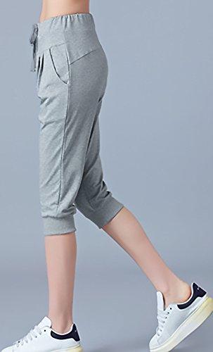 Alta Sportivi Larghi Forti Moda 3 Colore Sport Taglie Donna 4 Grigio Pantaloni Women Pantaloni Casual Donna Grazioso Pantaloncini Pantaloni Eleganti Giovane Vita Puro FxqPId