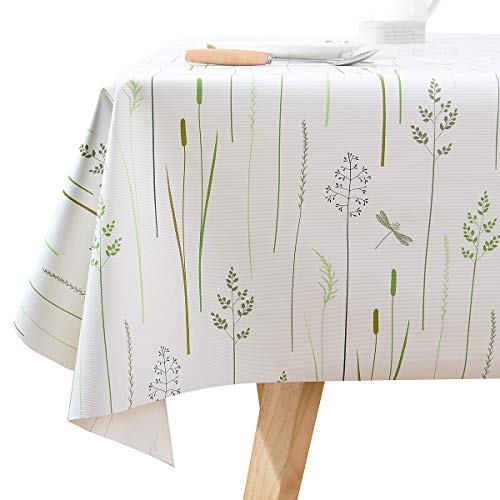 LOHASCASA Vinyl Oilcloth Tablecloth Rectangle Water Resistant/Oil-proof Wipeable PVC Heavy Duty Reusable Plastic Tablecloths for Dining Tables Extra Large Grass - White and Mint Green 54 x 108 Inch