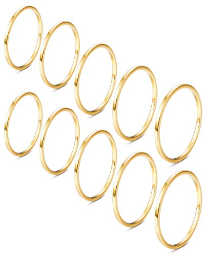JOERICA 10Pcs Stainless Steel Women's Band Knuckle Stacking Midi Ring Golden-tone