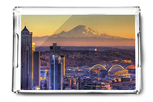 (Seattle, Washington Stadium and Mt. Rainer Photography A-91261 (Acrylic Serving Tray))