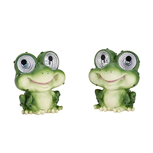 Smart Solar 3590WRM2 Garden Pal Frog Accent Light,2 Pack, With Integral Solar Panel That Charges the Included Ni-MH Battery During the (Frog Solar Light)