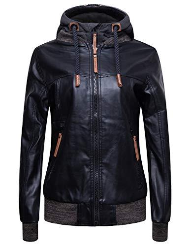 (blackmogoo Winter Faux Leather Moto Jackets For Women Windbreaker And Waterproof Hooded Bike Jacket Coats)