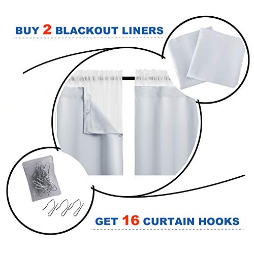 NICETOWN White Blackout Liners for Window Noise Light Blocking Liner Curtains