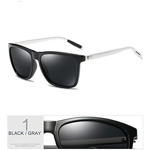Hombres De De Con Uv400 De TIANLIANG04 Gafas De Protección Gafas Black Sol Gray De Verdeoscuro Nocturna Cuadrados Sol Guía Aluminio Negro Polarizadas Patas La De Gafas Envuelva Visión R6RqwaY