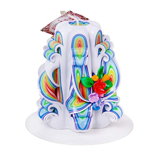 - Colorful Handmade Hand Carved Candle Decorated With Waxwork Flowers - Perfect Gift For Women Girlfriend Wife Mom Nanny - Bedroom Living Room Kitchen Home Décor