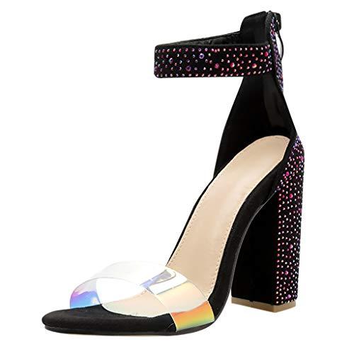 - YKARITIANNA Womens Fashion Multicolor Crystal Pumps Stilettos Strap Buckle High Heel Shoes 2019 Summer Black