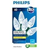 Philips 60ct Cool White LED Faceted C6 String Christmas Lights