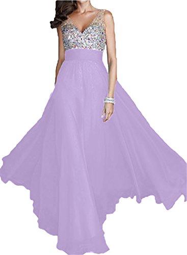 Linie V Elegant Abendkleid Ausschnitt Lang Damen Festkleid A Promkleid Chiffon Ivydressing Lilac Partykleid nXT6qUc