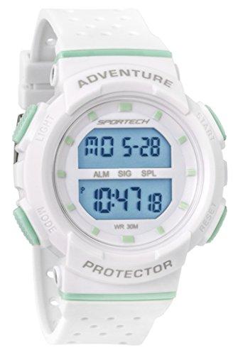SPORTECH Women's/Girls' | White & Mint Digital Water-Resistant Sports Watch | SP12701 by Sportech