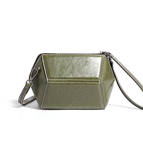 Sunbobo Bolso de bandolera geométrico de piel de vaca retro simple bolsa de mensajero, verde