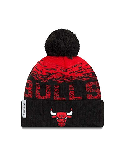 Chicago Bulls New Era NBA ''Sport Knit Flect'' Cuffed Hat with Pom by New Era