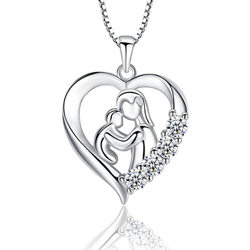 (Sterling Silver Mother and Child Necklace, Heart Mom & Daughter & Son Pendant Jewelry for Women, 18