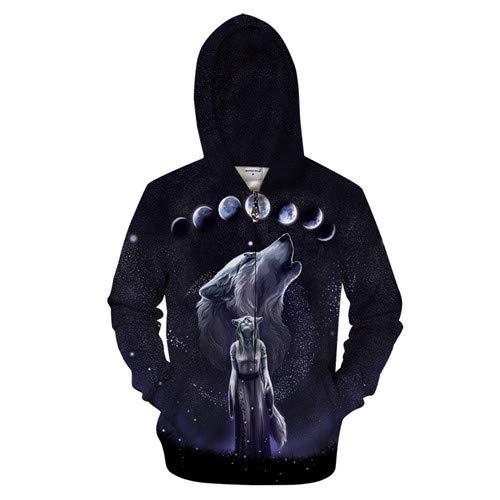 Ai Ya-weiyi Winter Wolf Zip Hoodies Männer 3D-Hoody Zipper Sweatshirt Pullover 6XL Streatwear Mantel Anime Trainingsanzug Hiphop