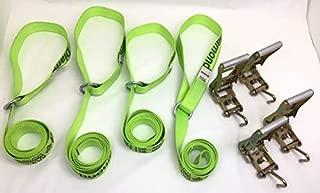 product image for Safe 'n Secure 10ft Diamond Weave Lasso Strap with O-Ring and Finger Hook Ratchet (Hi-Viz Green, Four)