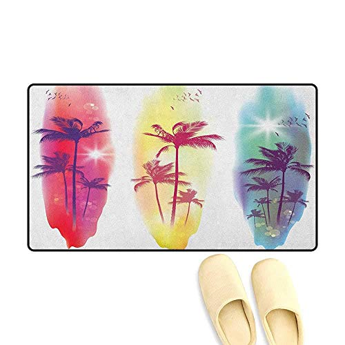 - YGUII Tropical Door Mat Outside Palm Trees Birds Seagulls Pattern Silhouette Surfboards Seascape Size:16X23.6in (40x60cm) Purple Fuchsia Pale Yellow