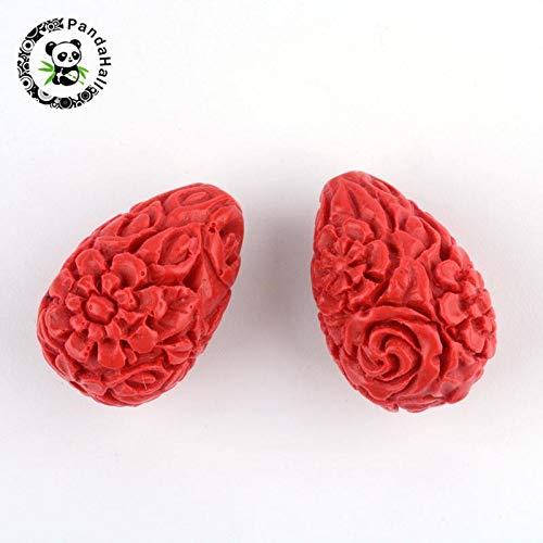 Calvas 50pcs Carved Flower Cinnabar Drop Beads, FireBrick, 20.5x13.5x13.5mm, Hole: 2mm