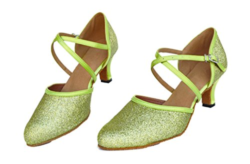 Tda Dames Mid Hak Enkelbandje Glitter Comfort Moderne Latin Dansschoenen Groen