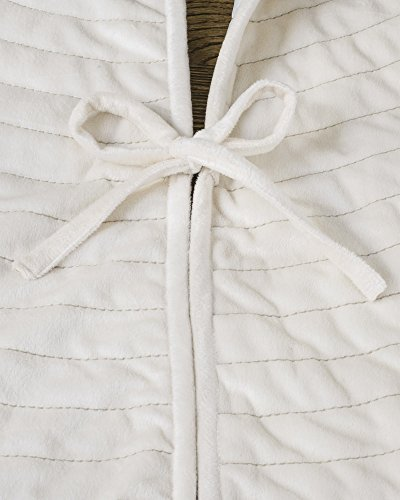 Balsam Hill Berkshire Channel Stitch Tree Skirt, 84 inches, Ivory White by Balsam Hill (Image #1)