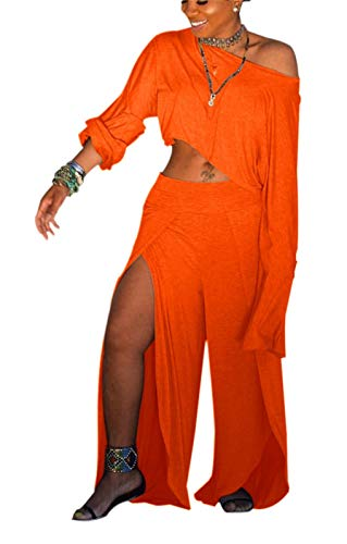 Women's Sexy Two Piece Outfits Loose Solid Crop Top and Split Wide Leg Long Pants Jumpsuits Set ()