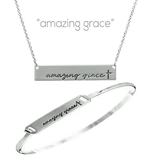 Amazing Jewelry (iTreasure Amazing Grace Bar Necklaces & Bracelet Jewelry Set for Women - Christian Necklace Brace Silver)