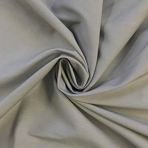 - 1 Yard Silver Stretch Broadcloth Fabric Cotton Polyester Blend 59