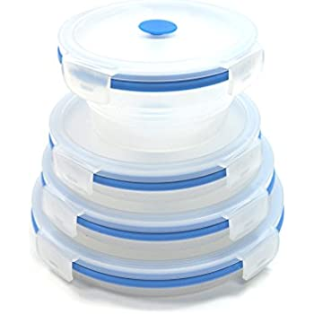 SAMMART Set of 4 Collapsible Silicone Food Container - Portable Food Storage box - Foldable Lunch Box - Stackable Outdoor Picnic Box - Space Saving Lunch Case - Round