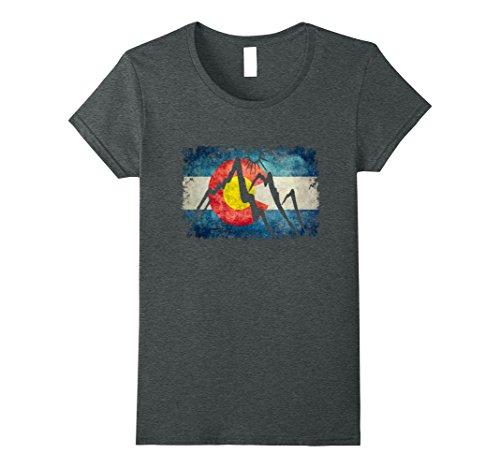 Womens Colorado Flag Moutain T Shirt   Colorado Day Shirts Large Dark Heather