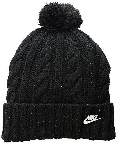 Metallic Nylon Hat - NIKE Sportswear Women's Beanie, Black/Cool Grey/Metallic Silver, One Size
