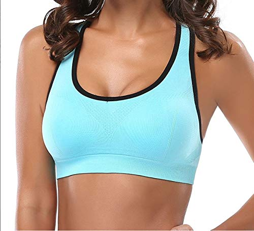Racerback Sports Bras - High Impact Activewear Fitness Gym Yoga Workout Padded Seamless Support M (30D 32D 34A 34B 34C 36A 36B) AQUA