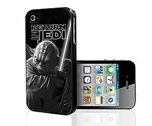 Black and White Retro Yoda Jedi Master Art Hard Snap on Phone Case (iPhone 4/4s)