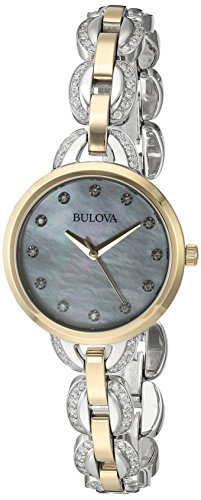 Bulova Women's 98L206 Crystal Analog Display Japanese Quartz Two Tone (Movement Two Tone Diamond)