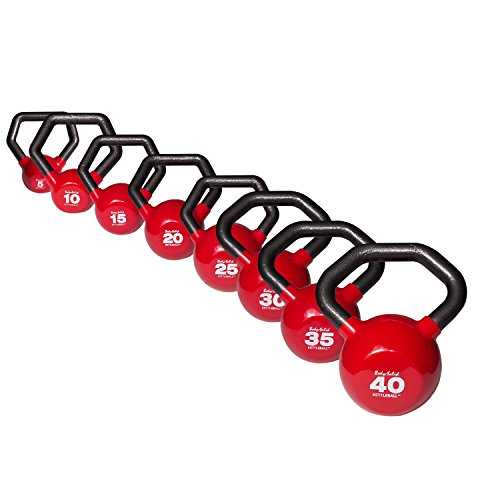 Body-Solid Vinyl-Coated Kettlebells Set, 5-30 Pounds