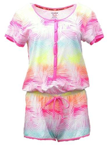 (Joe Boxer Womens Neon Tropical Print Henley Romper Jumper Pajama PJ)