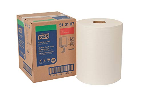 "Tork 510137 Cleaning Cloth, Centerfeed, 1-Ply, 12.6"" Width x 416.6"