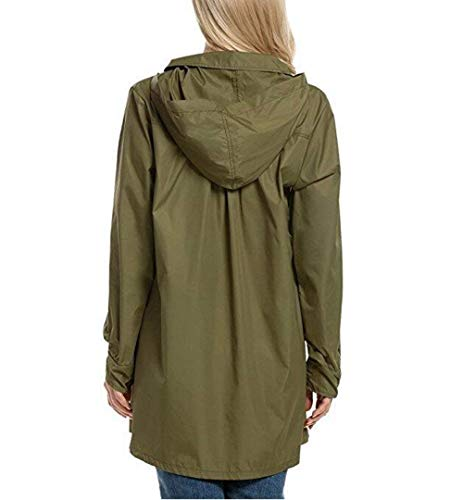Bavero Donna Giaccone Antivento Anteriori Outdoor Manica Monocromo Mantello Cappuccio Pioggia Armygreen Breasted Autunno Ragazza Con Jacket Tasche Giubbino Single Moda Chic Elegante Lunga tng7qw