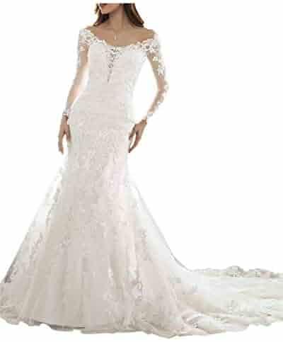 fb2e57d93ab5 Oufeisha Womens Long Sleeve Wedding Dress 2018 Off Shoulder Lace Mermaid Bridal  Gowns OFS104