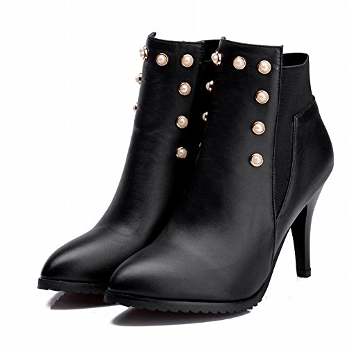Latasa Damesmode Elastische Panelen Kralen Puntige Hoge Hakken Enkelhoge Laarzen, Chelsea Laarzen Zwart