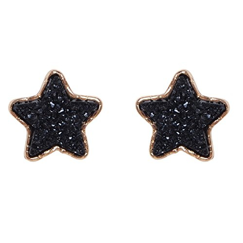 Humble Chic Simulated Druzy Studs - Star Shaped Sparkly Bezel Set Post Ear Stud Earrings, Black Star, Simulated Onyx, Gold-Tone